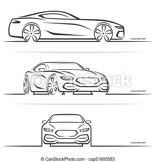 Vector Sports Car Silhouettes Vector Sports Car Silhouette Side