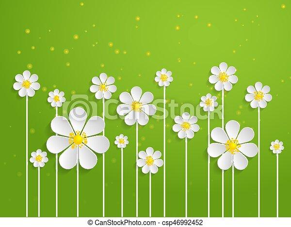 Vector spring background with volumetric flowers paper cut flowers vector spring background with volumetric flowers paper cut flowers on green background mightylinksfo