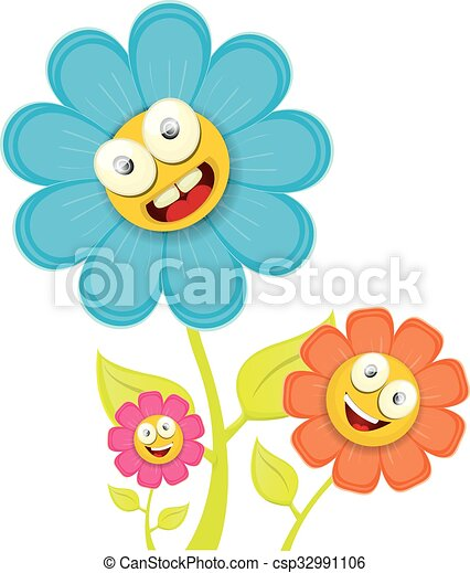 vector spring cartoon flowers isolated on white background rh canstockphoto co uk spring vector free spring vector logo