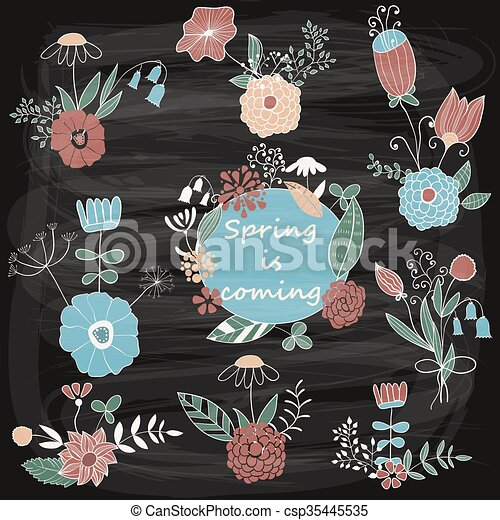 Vector Spring Floral Design Elements - csp35445535