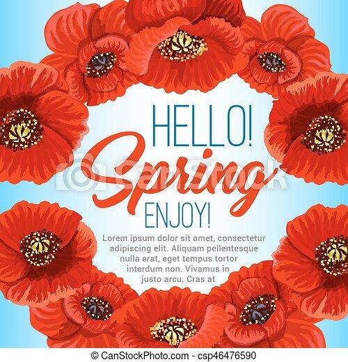 Vector spring poster of poppy flowers wreath hello spring poster vector spring poster of poppy flowers wreath mightylinksfo