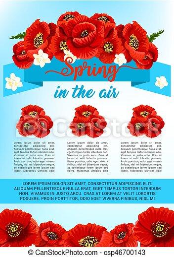 Vector spring poster of poppy flowers wreath spring is in the air vector spring poster of poppy flowers wreath mightylinksfo