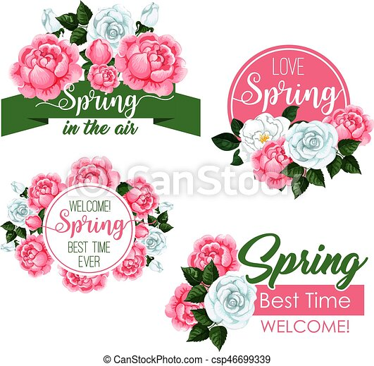Vector Spring Time Greeting Quotes And Flowers Set Springtime