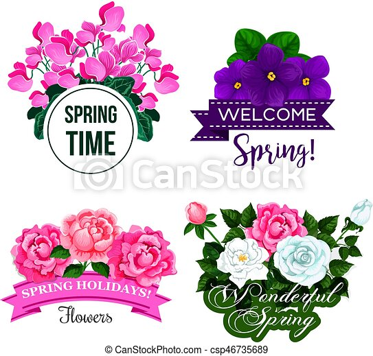 Vector Spring Time Greeting Quotes Flowers Design Welcome Spring