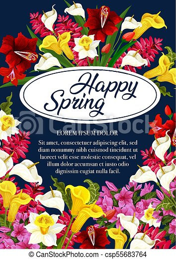 Vector springtime flowers greeting poster happy spring floral vector springtime flowers greeting poster m4hsunfo