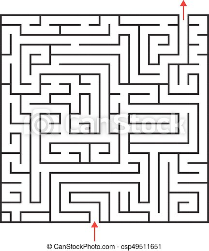Vector square maze with entrance and exit  Black and white drawing with red  arrows