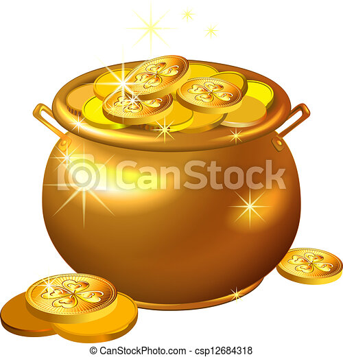 vector St. Patrick`s Day gold pot with coins - csp12684318