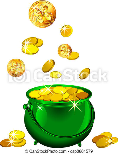 vector St. Patrick`s Day green pot with gold coins - csp8681579