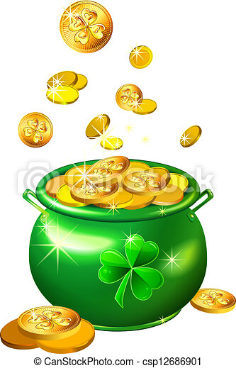 vector St. Patrick`s Day green pot with gold coins - csp12686901