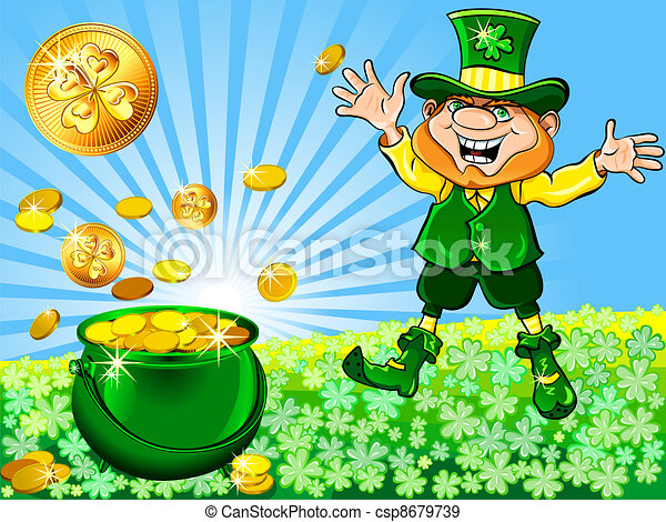 Vector St. Patrick's Day leprechaun with a pot full of gold - csp8679739
