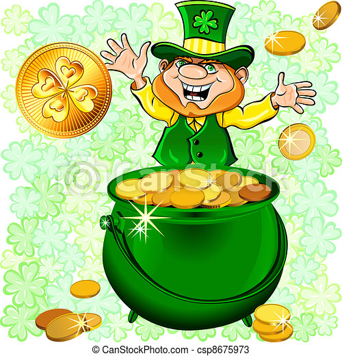 Vector St. Patrick's Day leprechaun with a pot full of gold - csp8675973