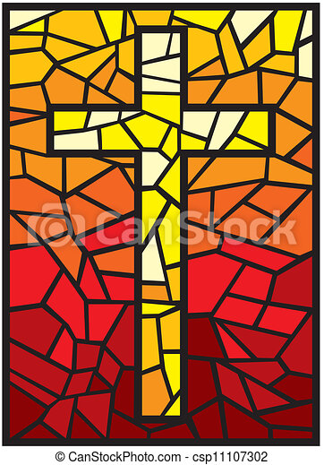 vector stained glass cross - csp11107302