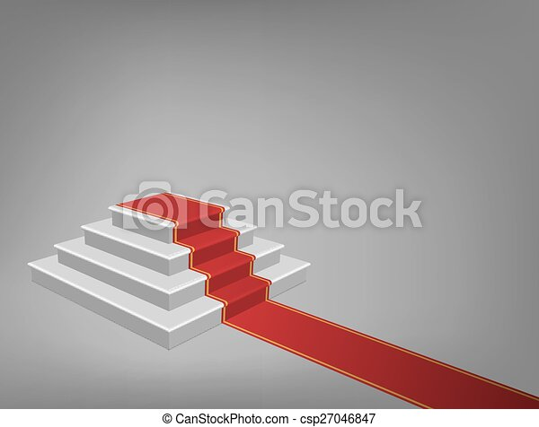 Vector Staircase with Red Carpet - csp27046847