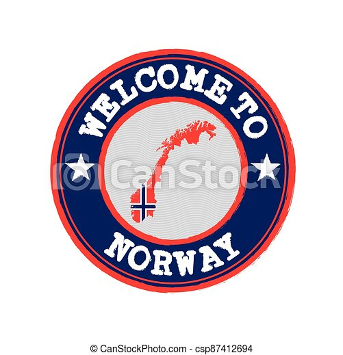 Vector Stamp of welcome to Norway with nation flag on map outline in the center. - csp87412694