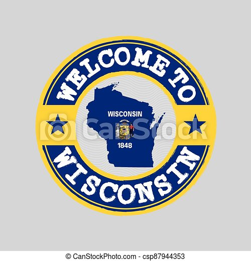 Vector stamp of welcome to Wisconsin with map outline of the nation in center. the states of America. - csp87944353