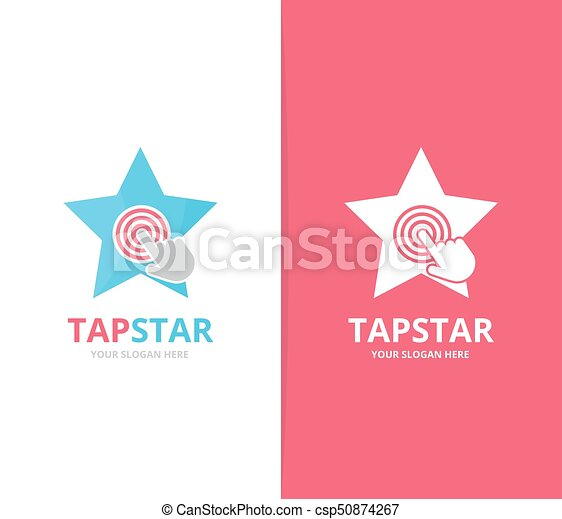 Vector star and click logo combination. Leader and cursor embrace symbol or icon. Unique digital and team logotype design template. - csp50874267