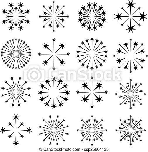 vector starbursts black symbols - csp25604135