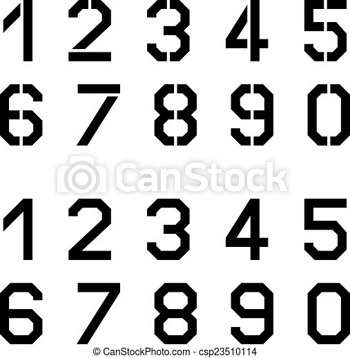 vector stencil angular font numbers - csp23510114