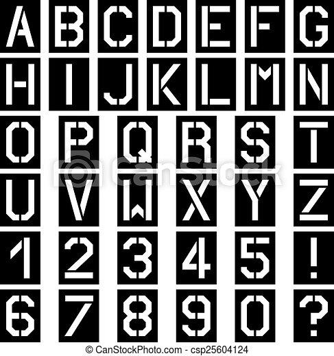 vector stencil square font alphabet - csp25604124