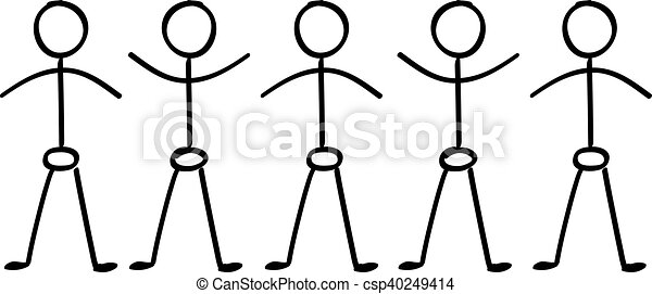 vector stick figure people holding hands in a line. | canstock  can stock photo