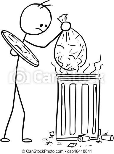 Vector Stick Man Cartoon Of Men Throwing Waste Trash Bag In To