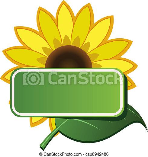 Vector sticker and sunflower.
