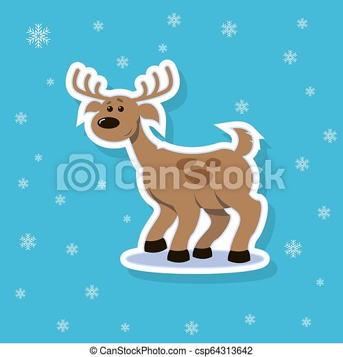 vector sticker illustration of a flat art cartoon deer with spots - csp64313642