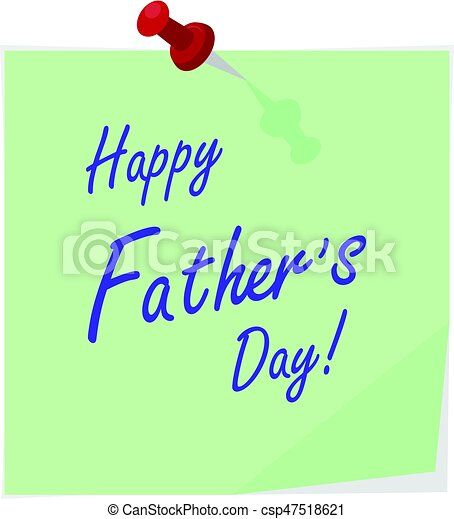 Vector sticker with pin and hand drawn lettering happy father\'s day ...