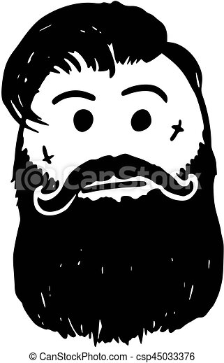 0bfd54a99 Vector Stickman Cartoon of Hipster with Facial Tattoo, Mustache and Beard  or Facial Hair -