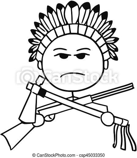vector stickman cartoon of indian tribal chief cartoon clipart rh canstockphoto com indian head mascot clipart indian headdress clipart