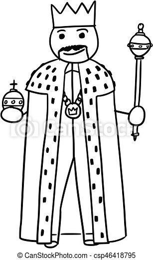 Vector Stickman Cartoon Of King Posing With Crown Sceptre And Royal Apple
