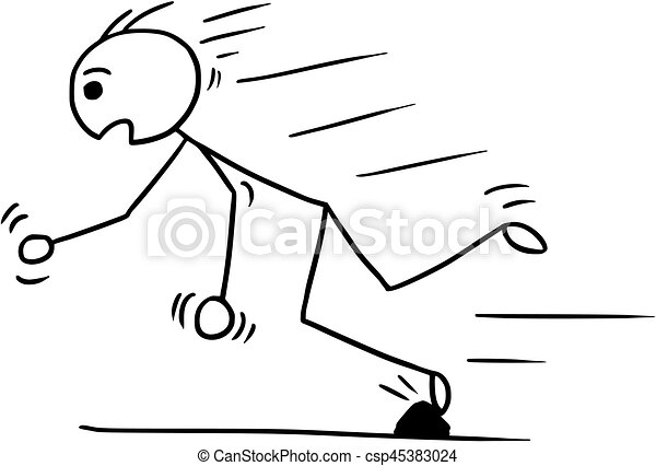 Vector Stickman Cartoon of Man Falling Stumble Trip Over Stone - csp45383024