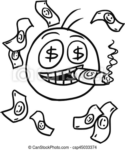 vector stickman cartoon of rich man with money and big cigar rh canstockphoto com
