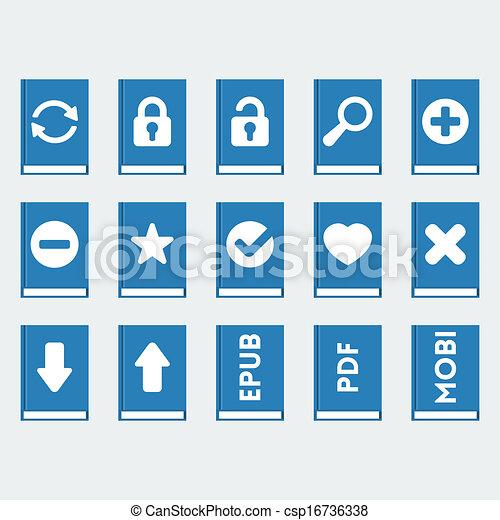 vector, stijl, set, iconen, 'flat', boek - csp16736338