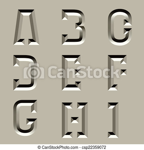 vector stone carved alphabet font - part 1 - csp22359072
