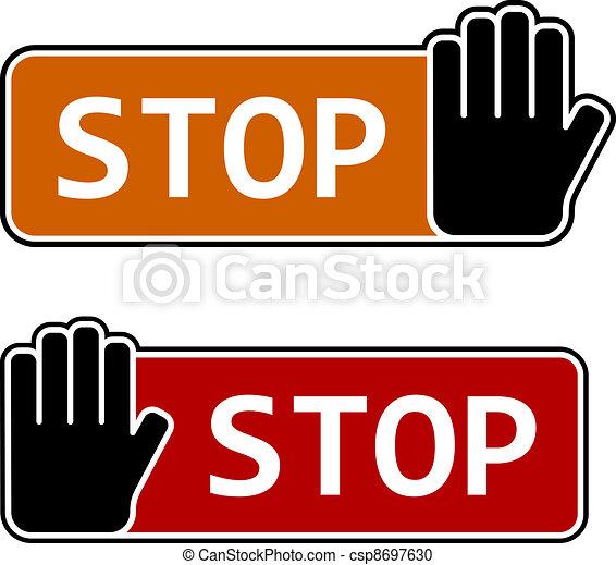 vector stop hand gesture labels - csp8697630