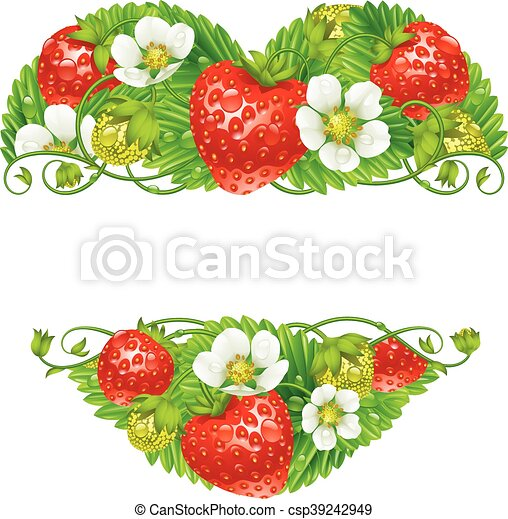 Vector strawberry frame in the shape of heart.