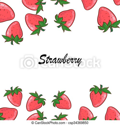 Vector strawberry frame . red berry and white flower. Vector ...