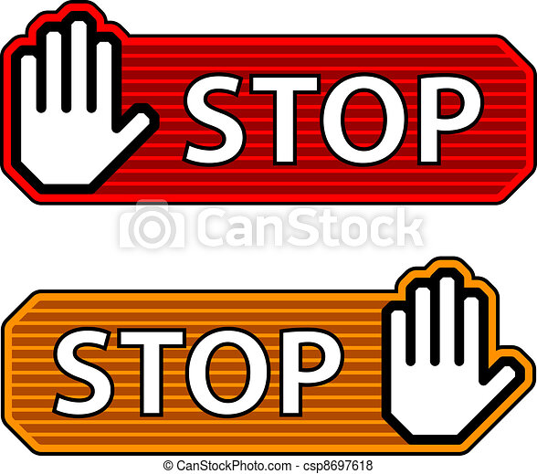 vector striped stop hand gesture labels - csp8697618