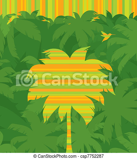 Vector striped tropical palm tree & flying humming-bird on a jungle forest green background - csp7752287