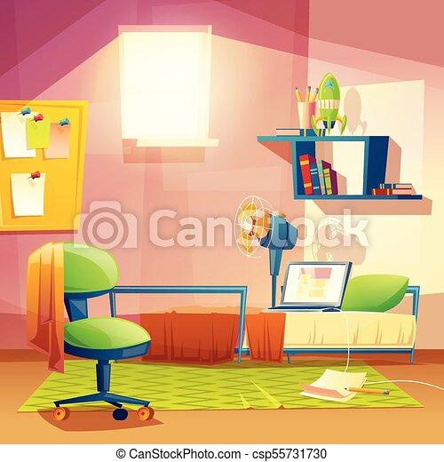 Vector Student Small Room Cartoon Bedroom Dormitory