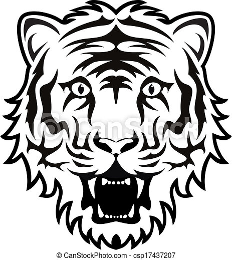 vector stylized black and white tiger face vector clipart search rh canstockphoto com cute tiger face clip art vector tiger face vector clipart of tiger face