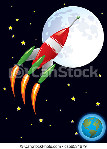 vector stylized retro rocket ship in space - csp6534679