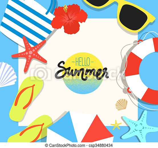 vector summer background with holiday elements flat style rh canstockphoto ca