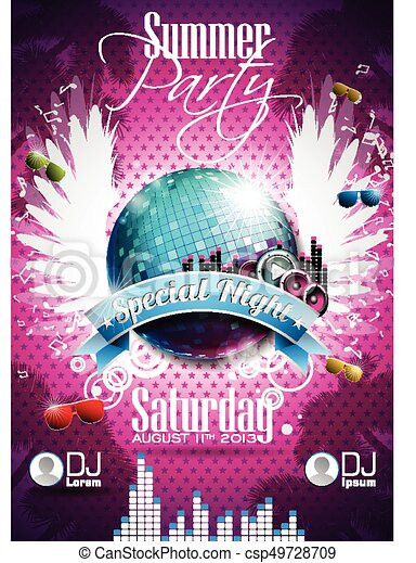 vector summer beach party flyer design with disco ball and wings on