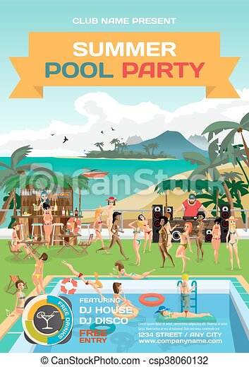 vector summer pool party invitation beach style day beach swimming