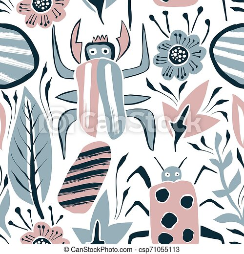 Vector Summer Seamless Pattern with Bugs and Leaves - csp71055113