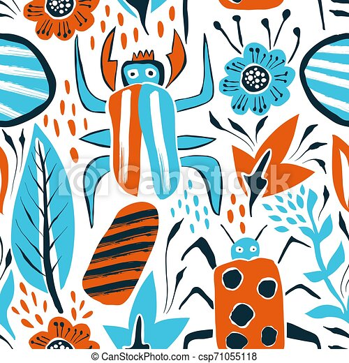 Vector Summer Seamless Pattern with Bugs and Leaves - csp71055118
