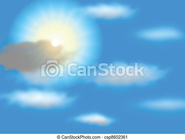 Vector sun on blue sky with lenses flare, eps10  - csp8602361