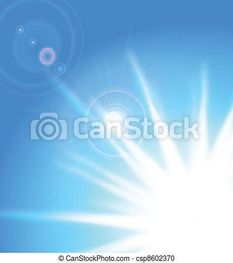 Vector sun on blue sky with lenses flare, eps10  - csp8602370
